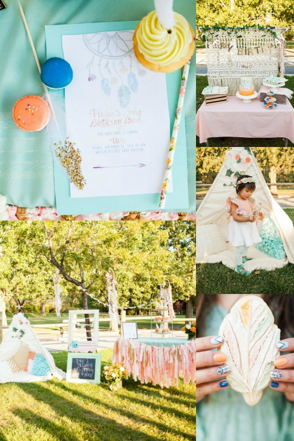 Boho teal and peach outdoor girl birthday party.