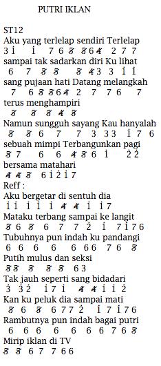 Not Angka Pianika Lagu ST12 Putri Iklan