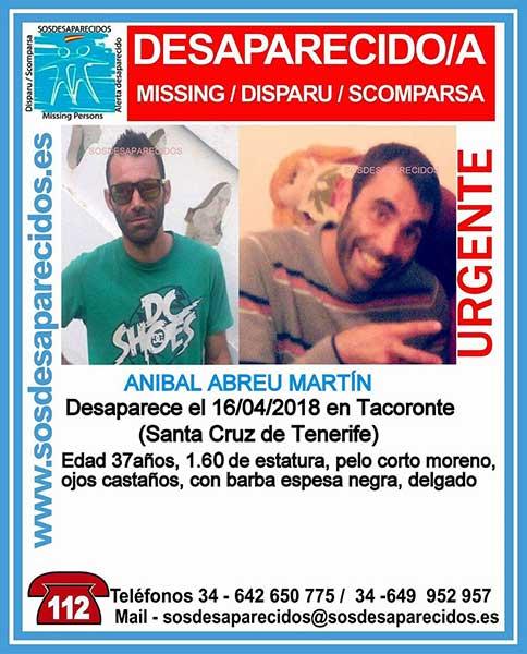 Desaparecido en Tacoronte, Tenerife, Anibal Abreu