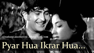 Pyar Hua Ikraar Hua Piano Notes Shree 420