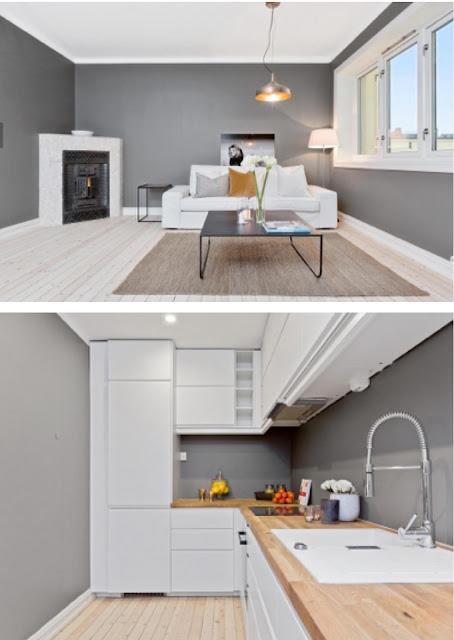sala y cocina colores blanco, negro y gris, gris en las paredes