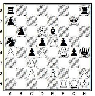 Posición de la partida de ajedrez Shanin - Sharkov (URSS, 1987)