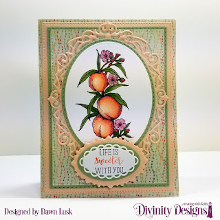 Divinity Designs Stamp Set: Peach Branch, Custom Dies: Pierced Rectangles, Double Stitched Rectangles, Ovals, Double Stitched Ovals, Ornate Ovals, Paper Collection: Cozy Quilt