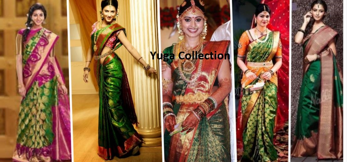 576176896a8232 Bright Green kanjeevaram Bridal sarees with contrast blouse combination