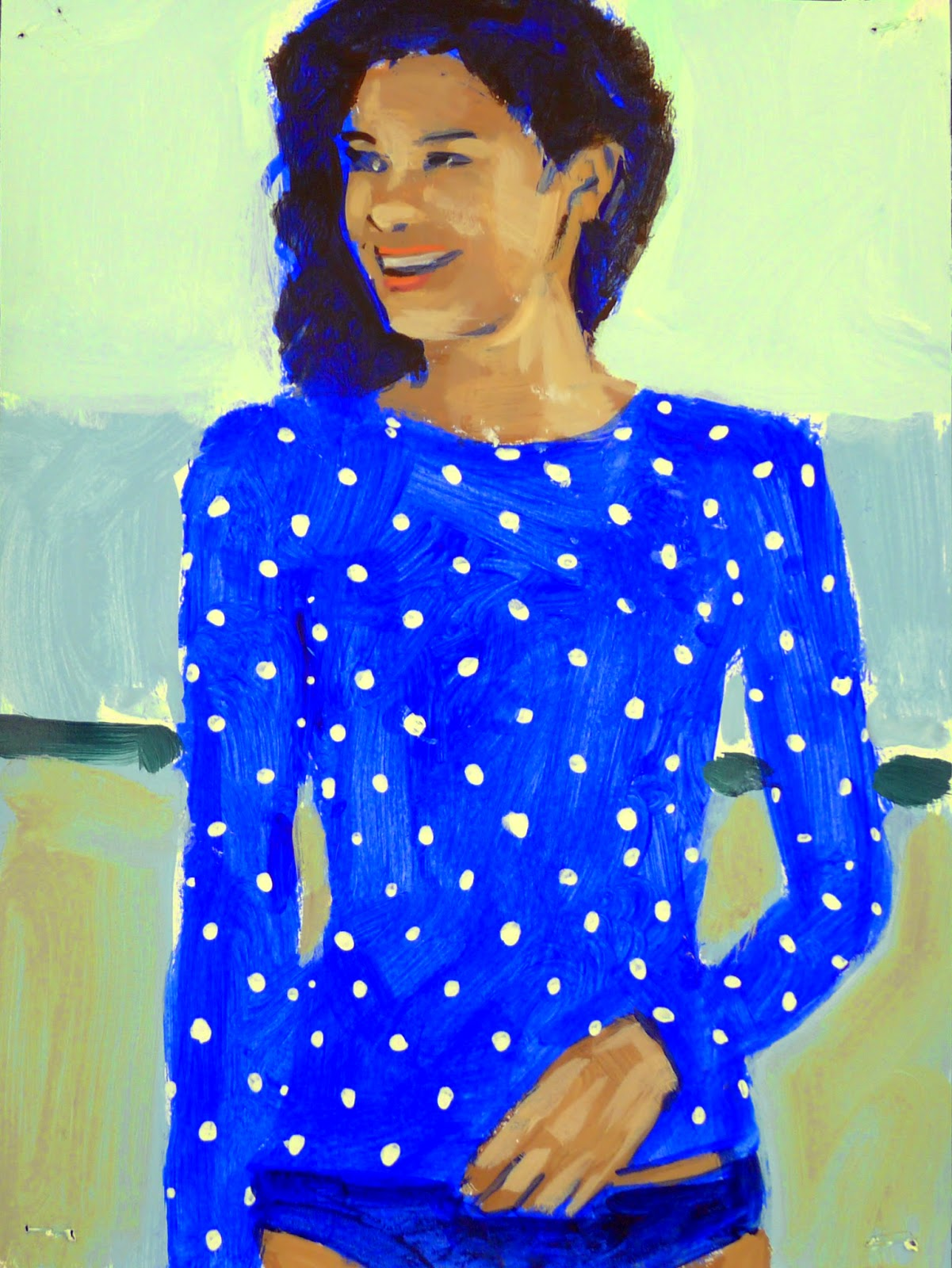 cd33c54861507 Lands  End Women s Polka Dot Tunic Rash Guard 2014 acrylic on paper 12 x 9  in.