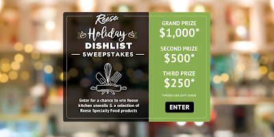 Reese Holiday Dish List Sweepstakes Free Samples