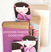 Free printable kokeshi bookmark