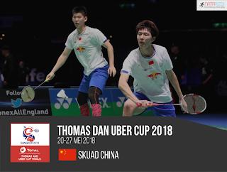 Pemain China di Thomas dan Uber Cup 2018