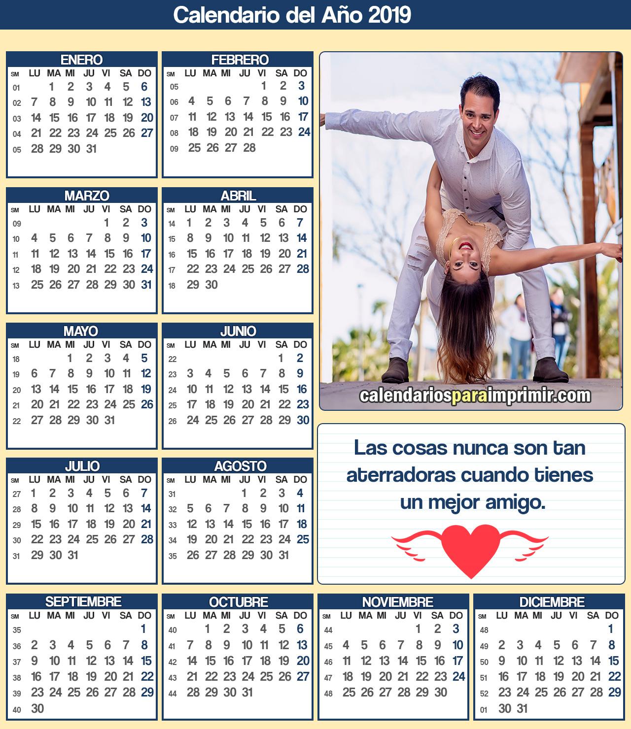 calendarios de amistad para imprimir 2019