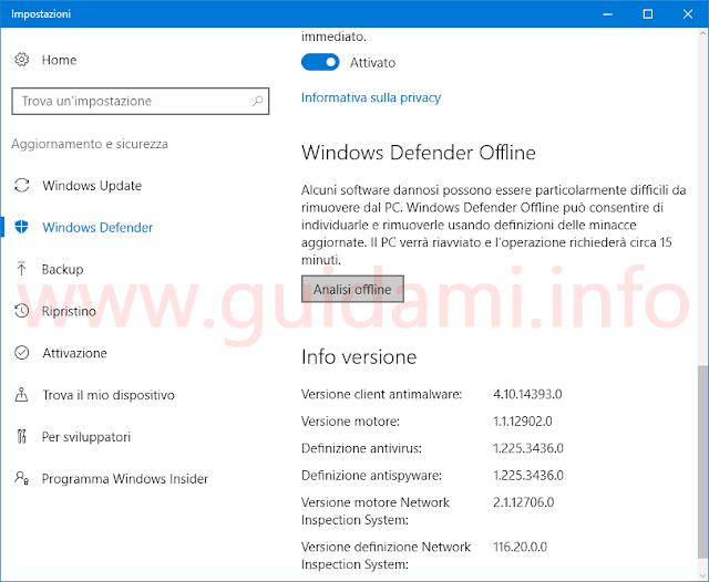 Windows Defender Offline in Windows 10 Anniversary Update