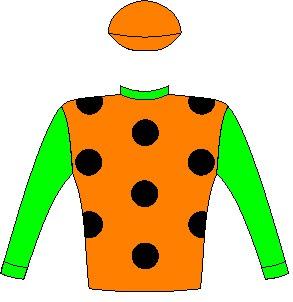 Fiorella - Silks - Owner: Mr D D MacLean - Colours: Dayglo orange, black spots, dayglo green collar and sleeves, dayglo orange cap