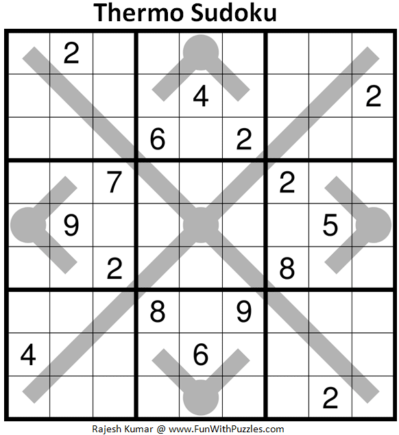 Thermometer Sudoku Puzzle (Fun With Sudoku #360)
