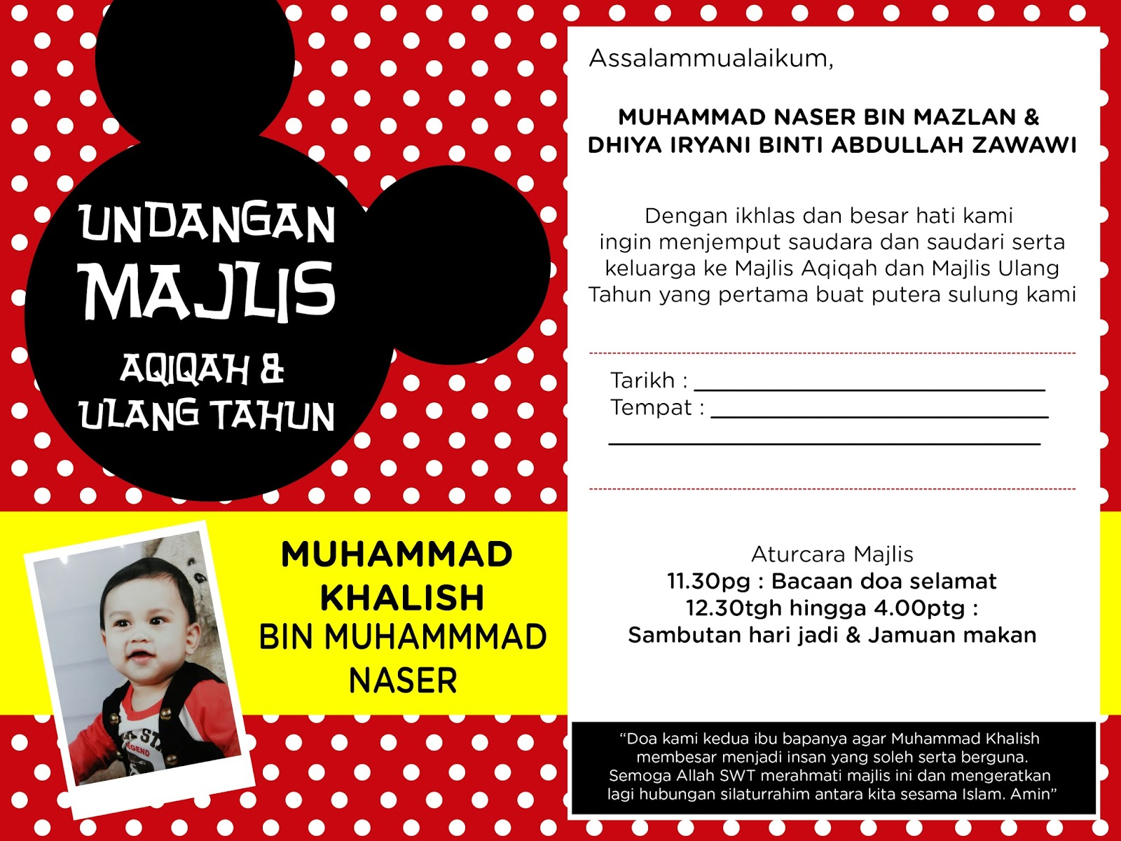 Majlis aqiqah birthday party invitation card design ora adzlin majlis aqiqah birthday party invitation card design stopboris Image collections