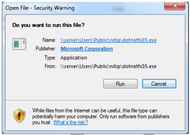 Xambro Platform winXP - Jendela Security Warning dotnet framework 3.5