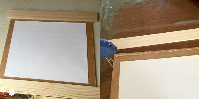 Hot glue to attach hardboard to paint sticks