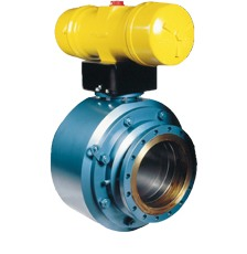Pneumatic actuator on industrial valve