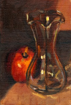Oil painting of a tulip-shaped glass vase beside a yellow nectarine.
