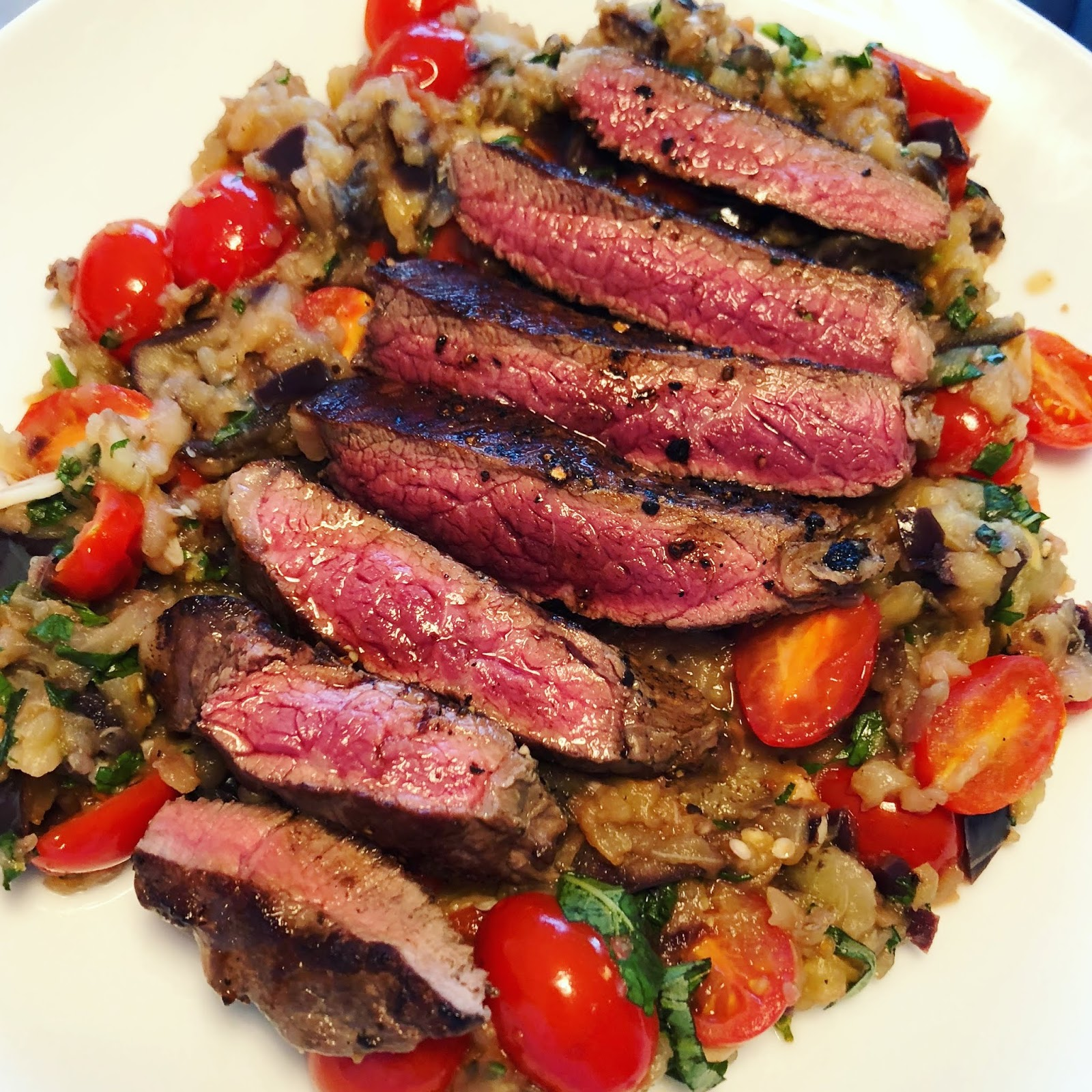 Sizzling Steak with Aubergine and Cherry Tomatoes