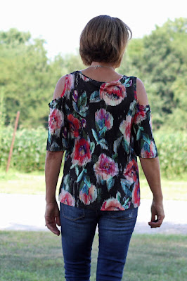 Simplicity 8337, view B made from Mood Fabrics' floral jersey - back view