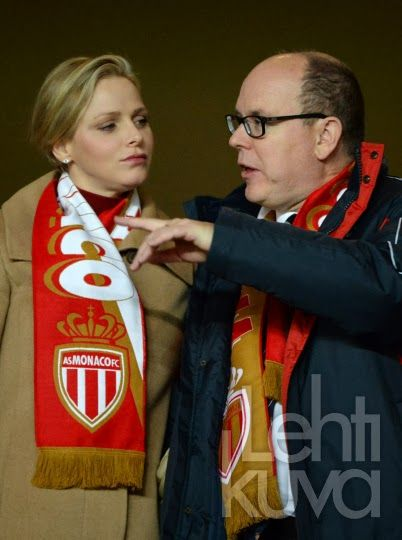 Prince Albert, Princess Charlene, Pierre Casiraghi and Gad Elmaleh attended the French L1 soccer match