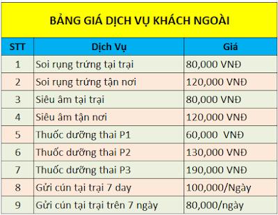Bảng Giá phối giống và các dịch vụ khác