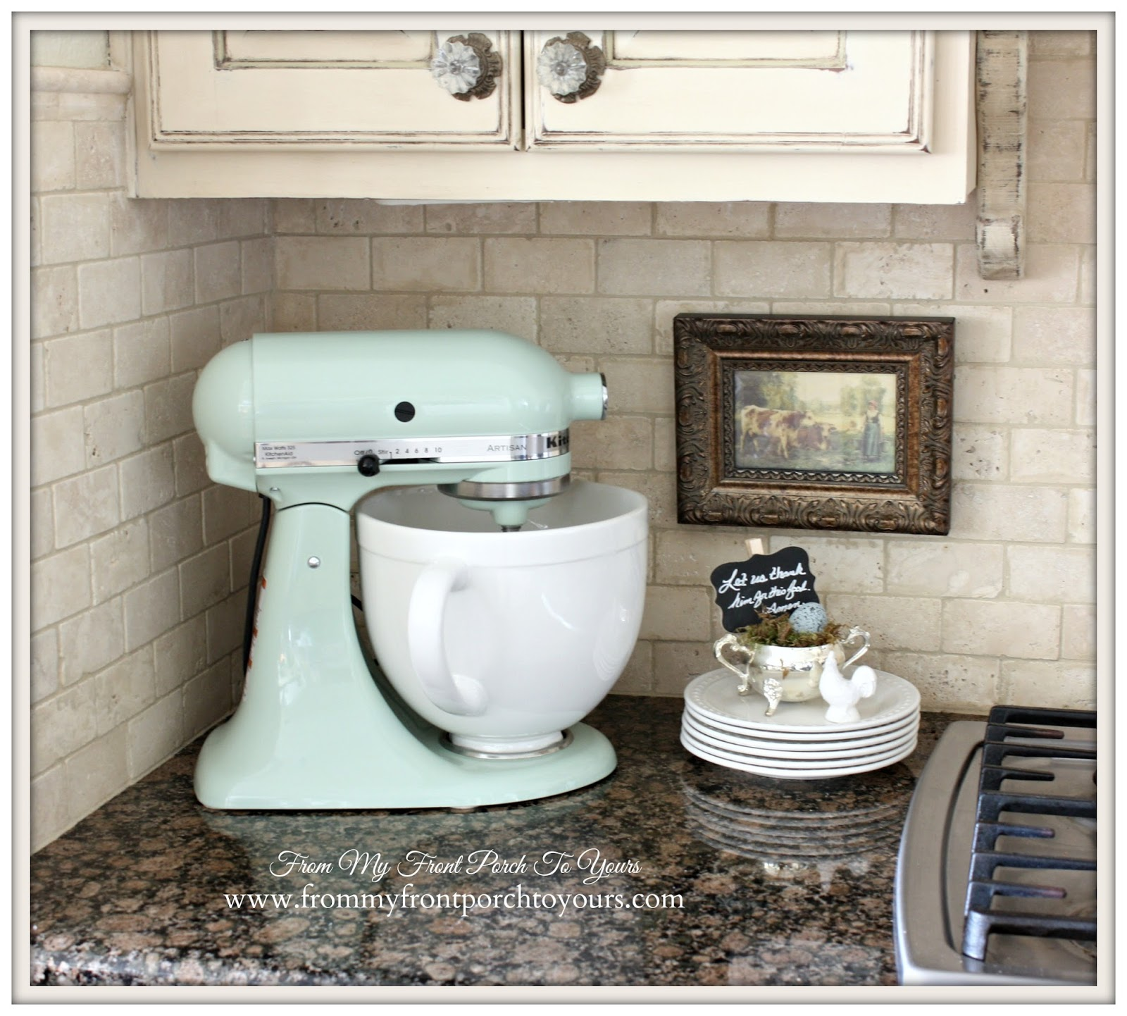 French Farmhouse Kitchen-Pistachio KitchenAid Mixer- From My Front Porch To Yours