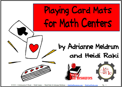 Free playing card mats for a variety of math skill centers from Raki's Rad Resources.