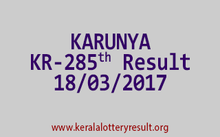 KARUNYA Lottery KR 285 Results 18-3-2017
