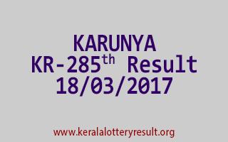 KARUNYA Lottery KR 285 Results 18-3-2017