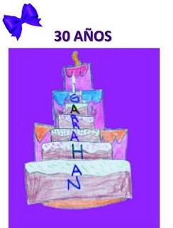 Imagen de torta 30 años realizada por un alumno
