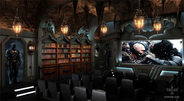 batman theme basement interior design and ideas, basement home theater based on batman