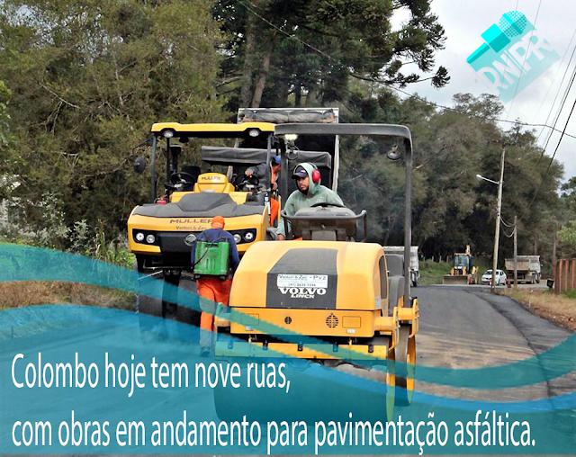 Colombo hoje tem nove ruas, com obras em andamento para pavimentação asfáltica.