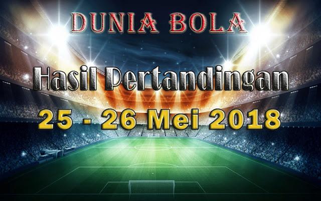 Hasil Pertandingan Sepak Bola Tanggal 25 - 26 Mei 2018