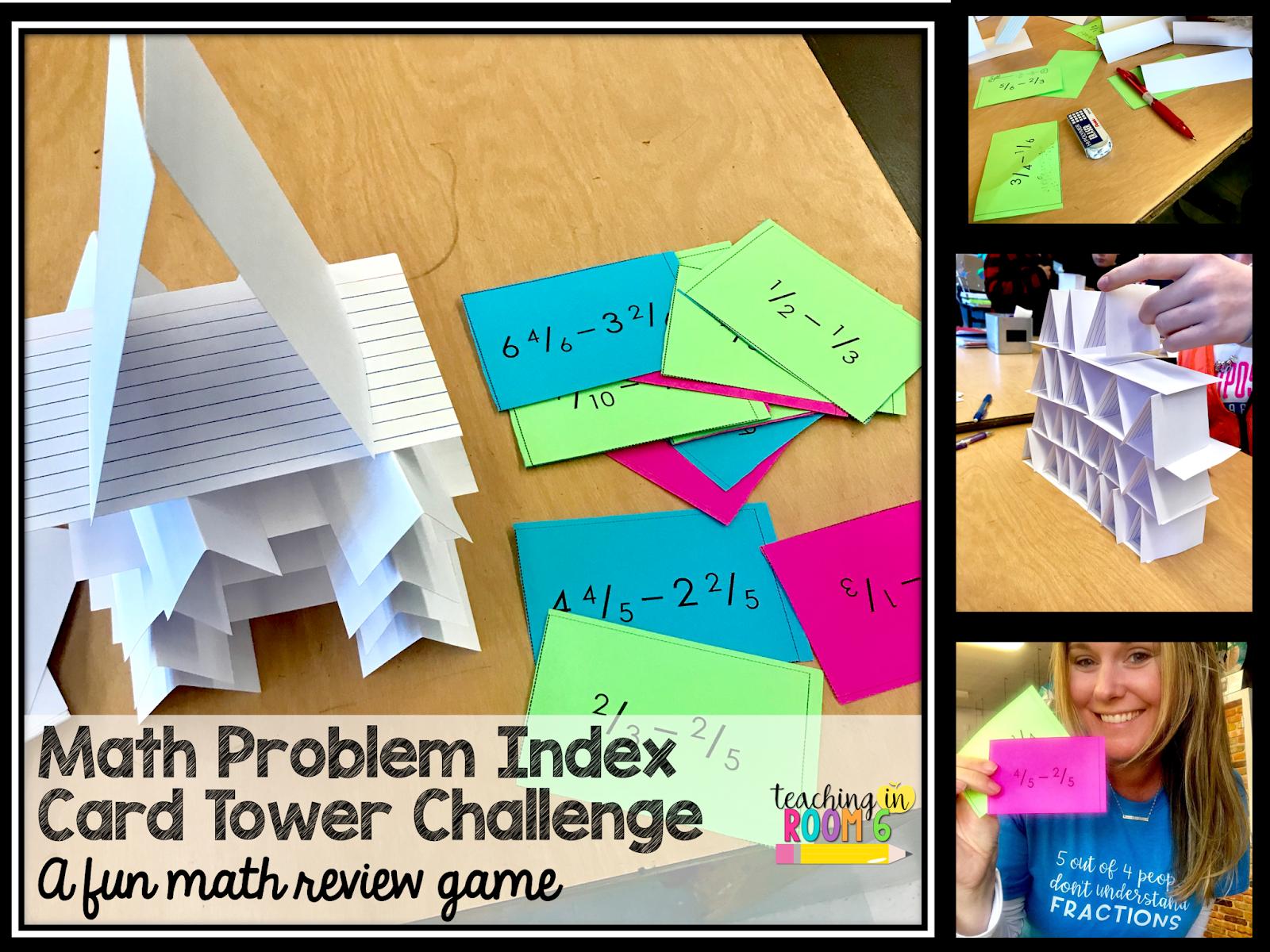 Teaching in Room 6: Math Problem Index Card Tower: A FUN