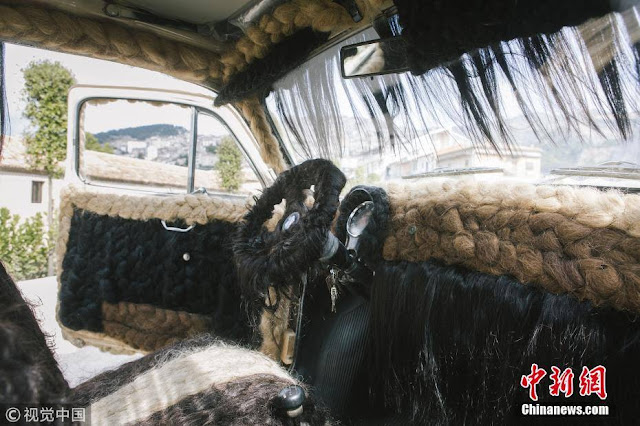 Italian hairstylist Maria Lucia Mugno spent more than 80,000 pounds covering her car with human hair