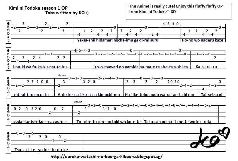 Guitar tokyo ghoul guitar tabs : Anime Guitar Tabs: Tabs for Reaching You - Kimi ni Todoke Season 1 OP