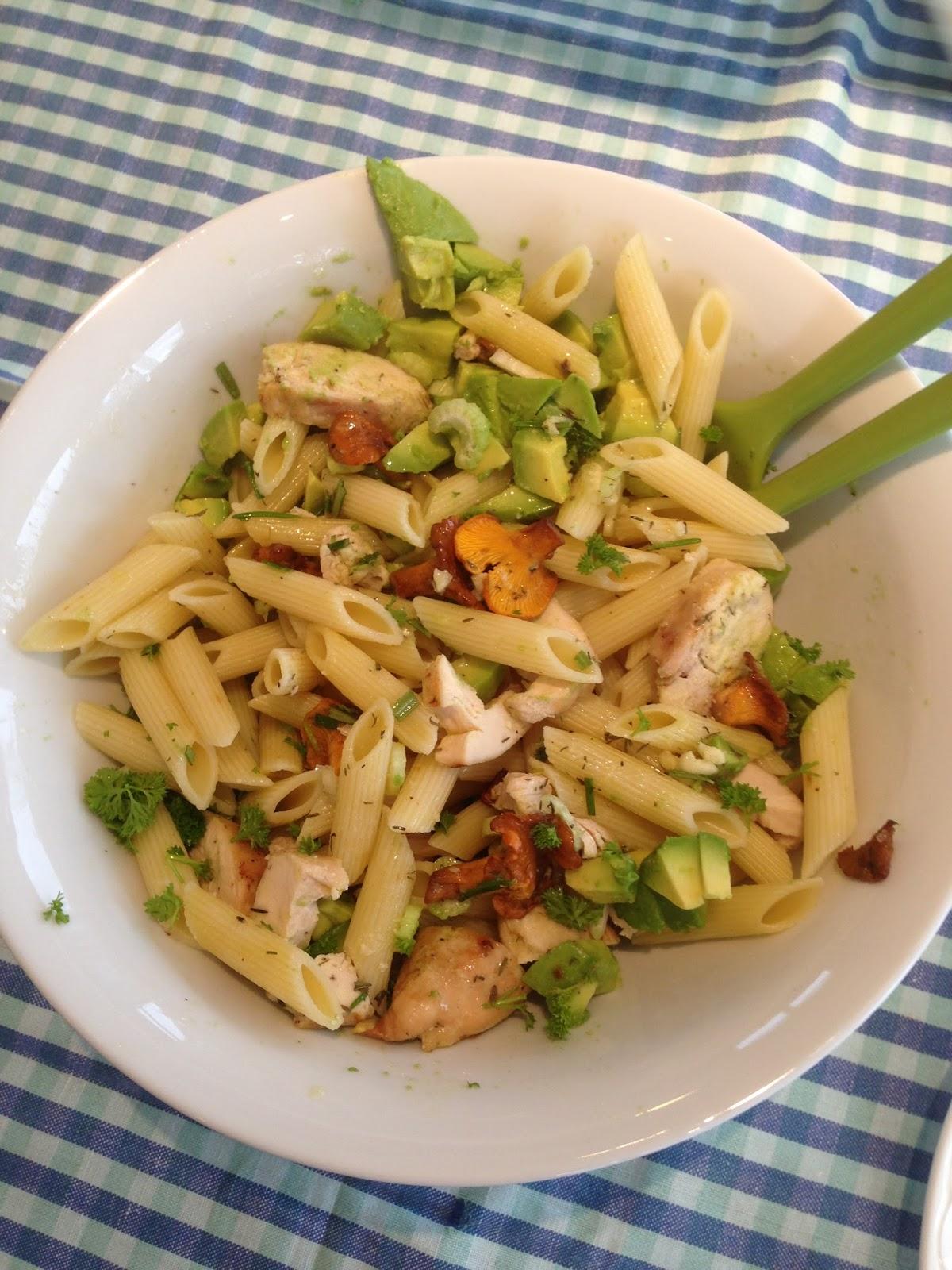 kyllingsalat med pasta oppskrift