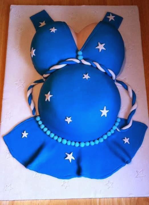 Tarta De Cumpleanos Con Forma De Vestido Azul Para Mujer Embarazada - Tartas-de-cumpleaos-para-mujeres