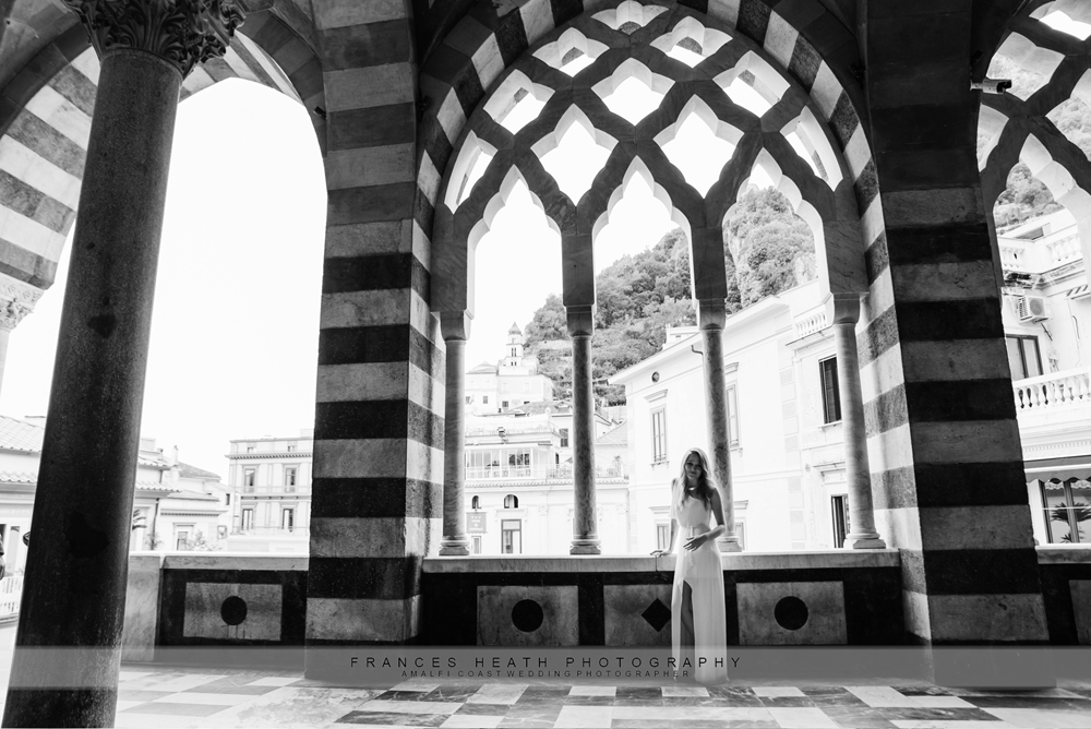 Bridal portrait at the church in Amalfi