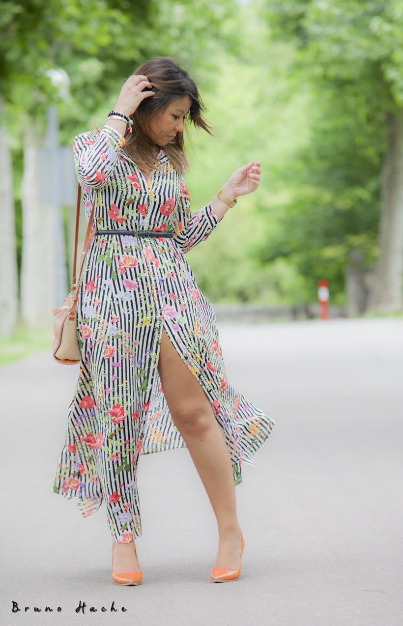 Look vestido largo flores zara