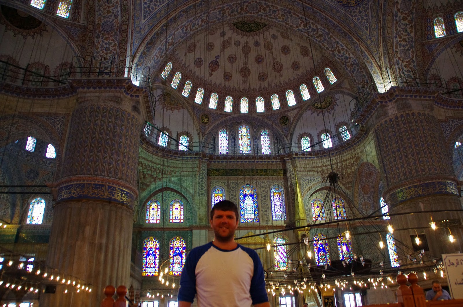 Guy in Blue Mosque Istanbul