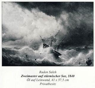 Lukisan Karya Raden Saleh dengan Judul Dua Master pada Lautan Badai