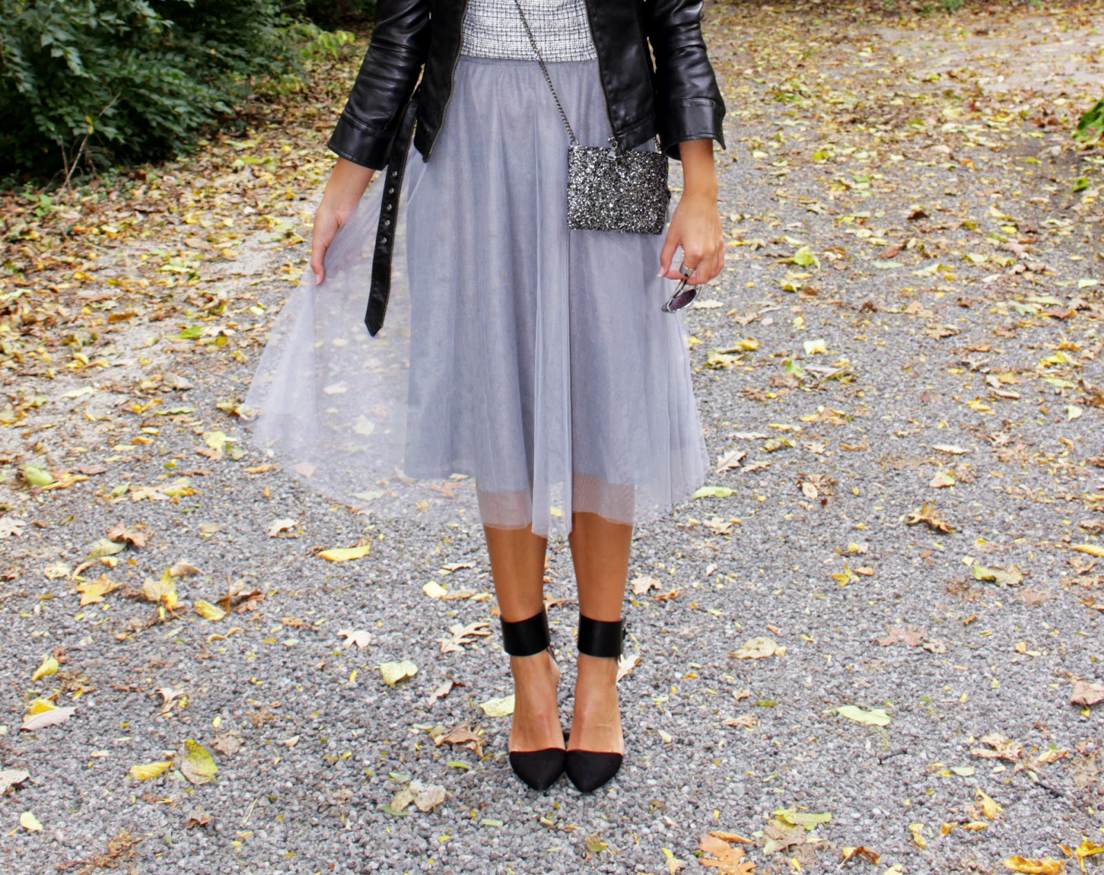 43dda3bb2b Faux Leather Jacket: Express | Top: Express [cropped tank version here] | Tulle  Skirt: LC Lauren Conrad | Earrings: Payless | Rings: Charlotte Russe [in ...