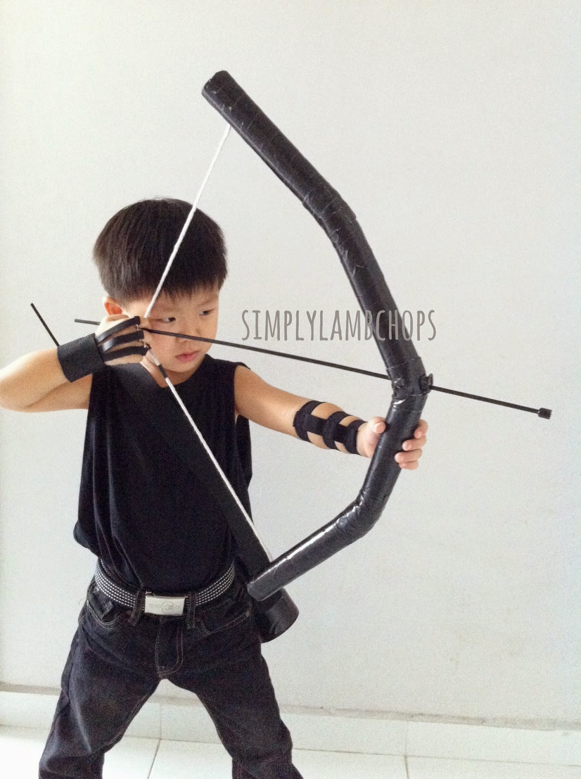 Homemade Hawkeye costume for child by Simply Lambchops