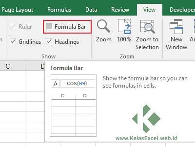 Menyembunyikan/Menampilkan Formula Bar