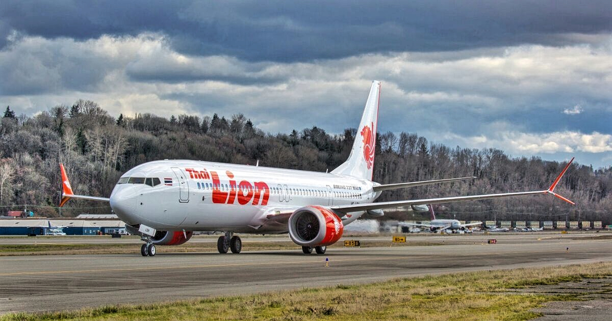 Thai Lion Air Boeing 737 MAX 9 Ready To Takeoff Runway