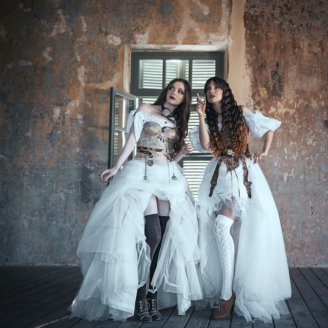 Womens steampunk wedding dresses and bridal party fashion inspiration.