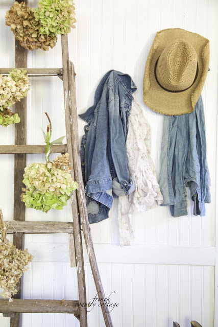 denim and hydrangea with old orchard ladder