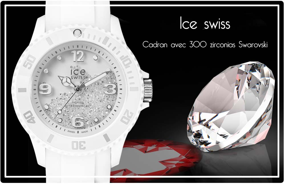 montre ice watch swarovski blanche