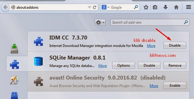 disable idm addons on Firefox